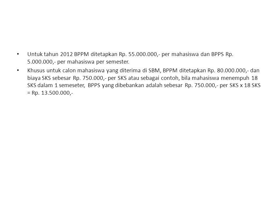 Untuk tahun 2012 BPPM ditetapkan Rp. 55. 000