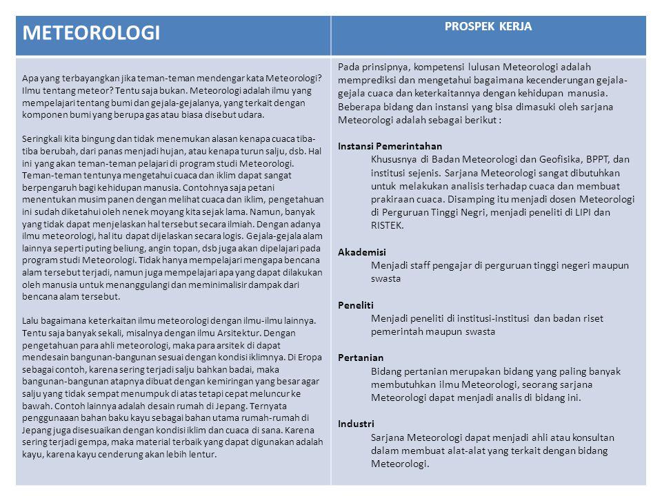 METEOROLOGI PROSPEK KERJA