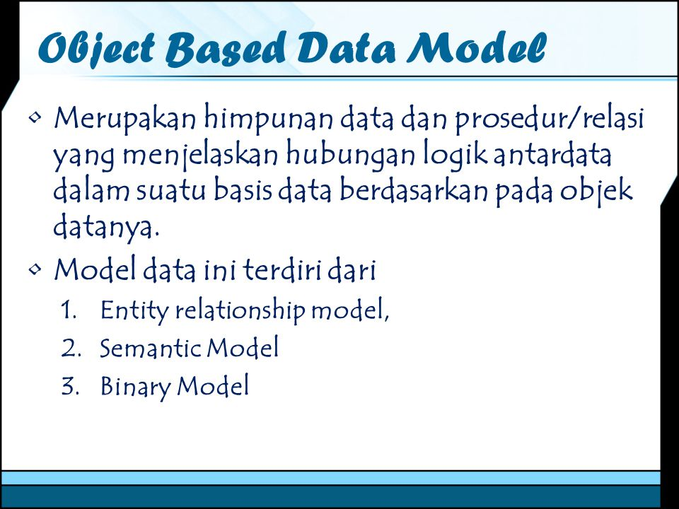Object Based Data Model