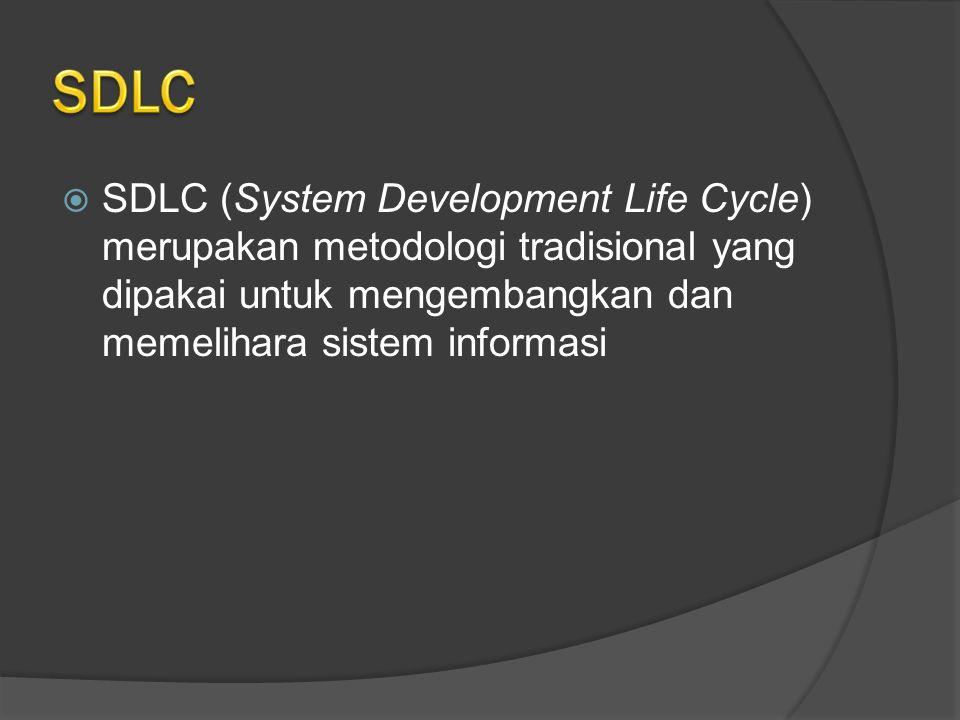 SDLC SDLC (System Development Life Cycle) merupakan metodologi tradisional yang dipakai untuk mengembangkan dan memelihara sistem informasi.