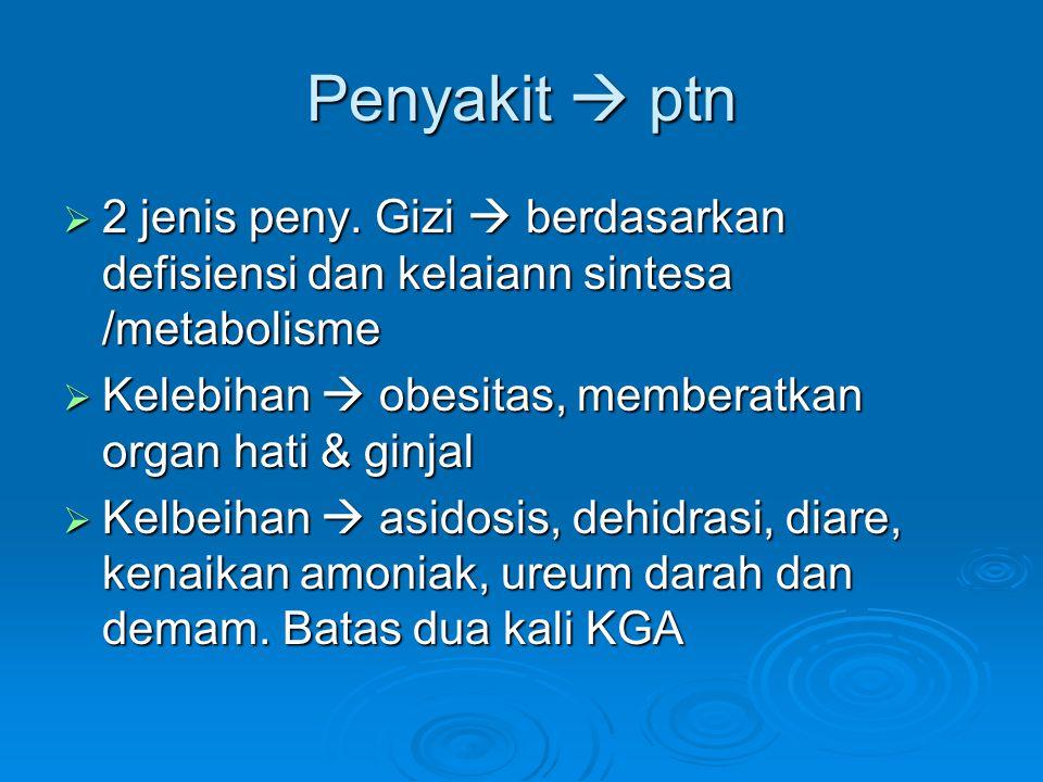 Penyakit  ptn 2 jenis peny. Gizi  berdasarkan defisiensi dan kelaiann sintesa /metabolisme. Kelebihan  obesitas, memberatkan organ hati & ginjal.