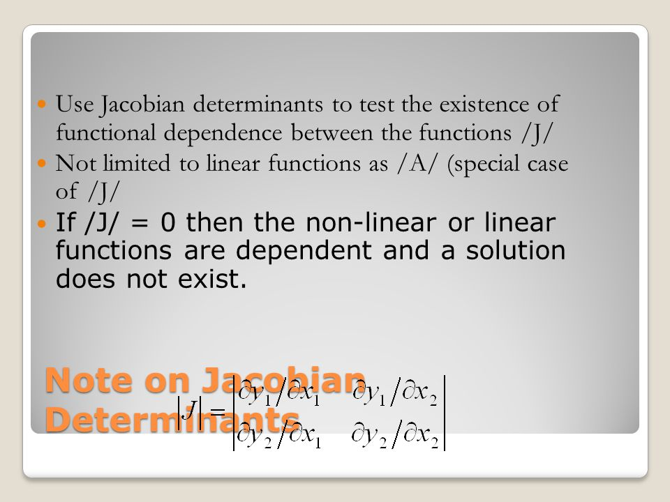 Note on Jacobian Determinants