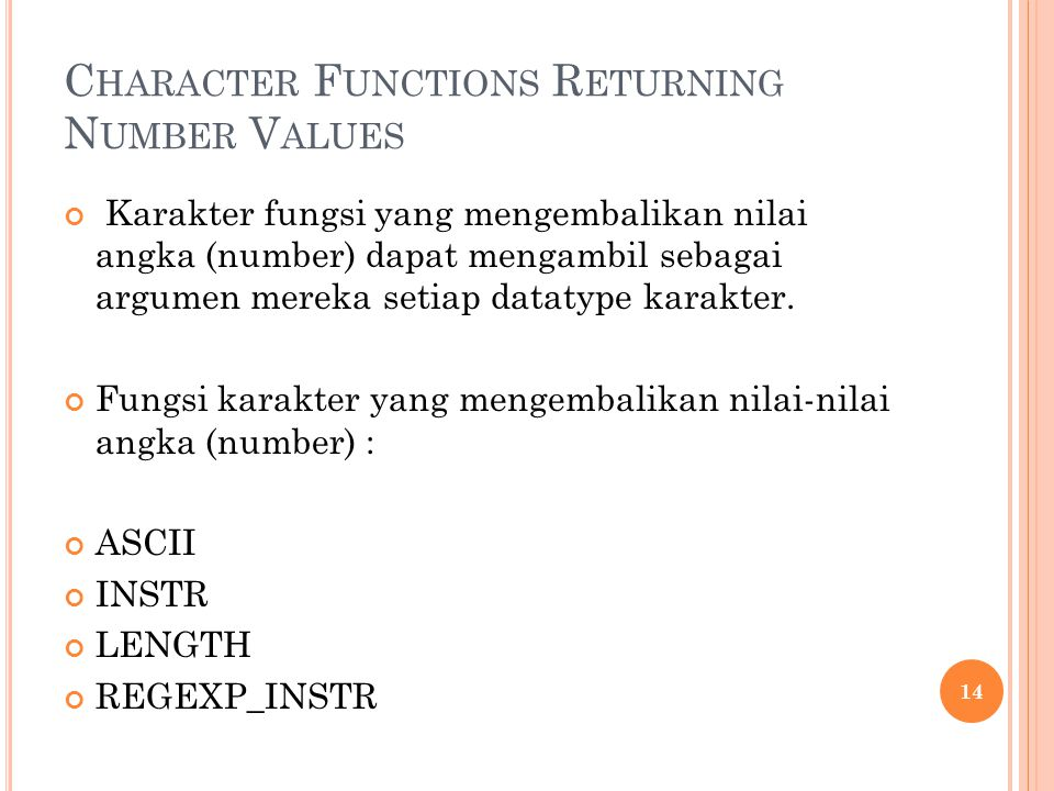 Character Functions Returning Number Values