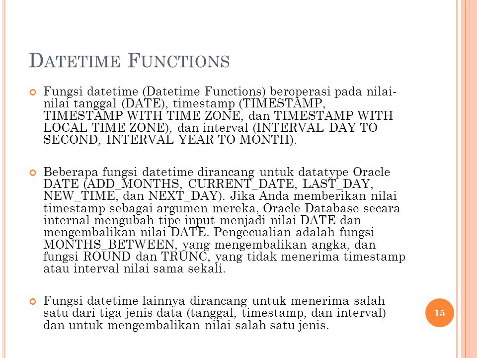 Datetime Functions