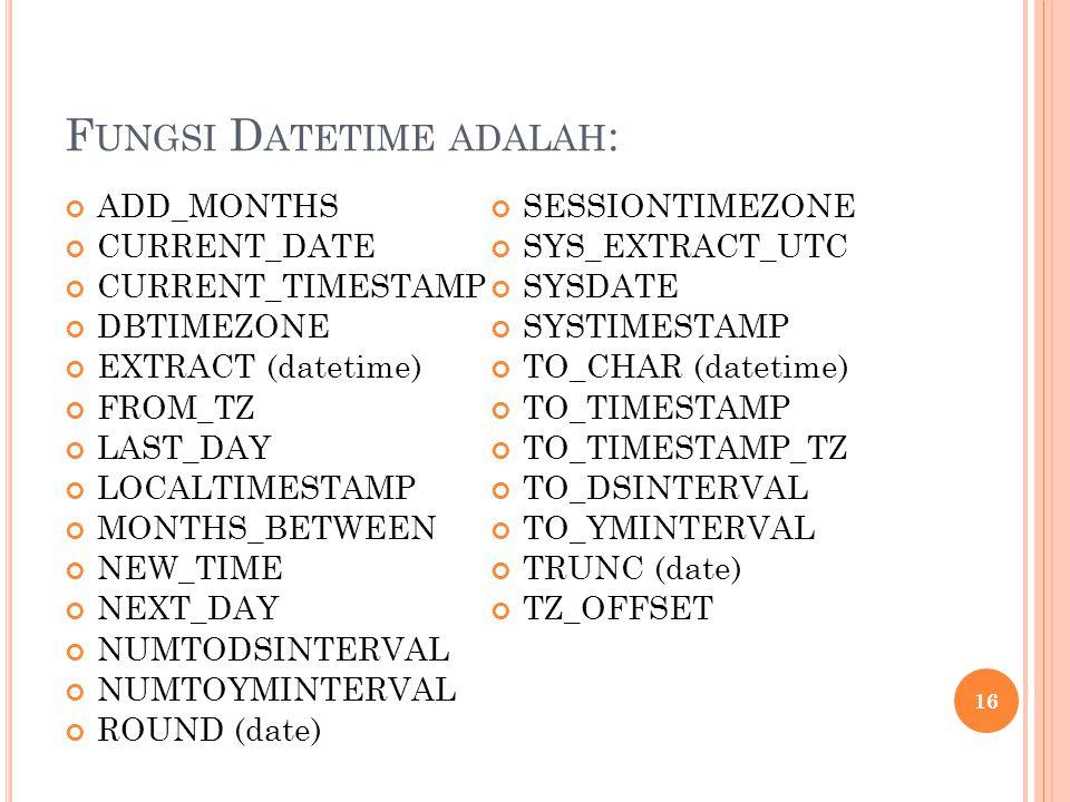 Fungsi Datetime adalah: