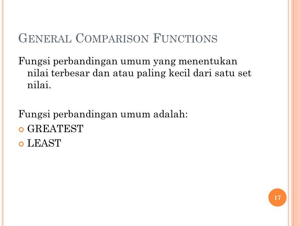 General Comparison Functions