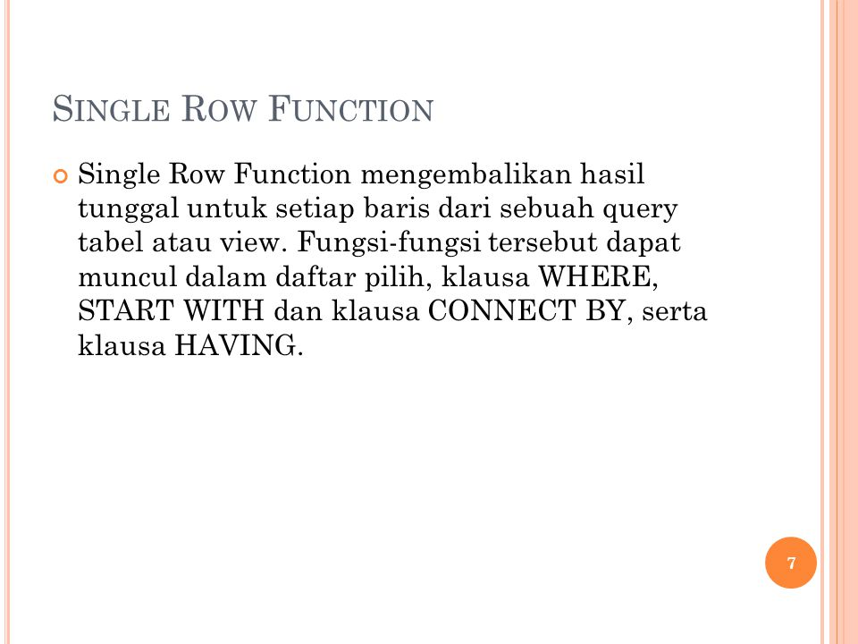 Single Row Function