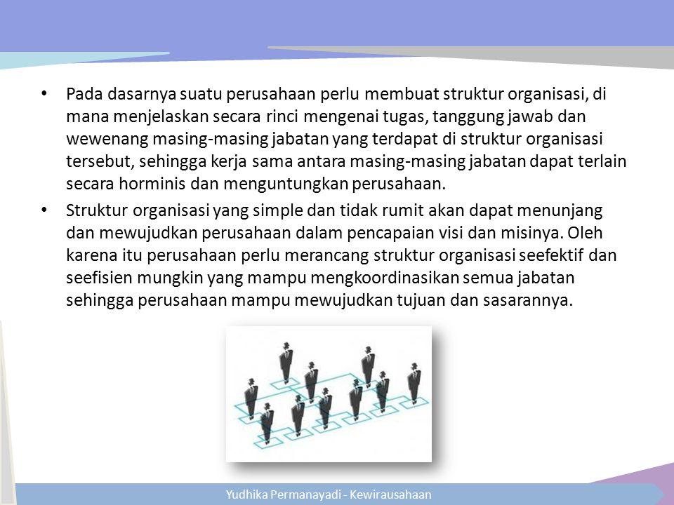 Pada dasarnya suatu perusahaan perlu membuat struktur organisasi, di mana menjelaskan secara rinci mengenai tugas, tanggung jawab dan wewenang masing-masing jabatan yang terdapat di struktur organisasi tersebut, sehingga kerja sama antara masing-masing jabatan dapat terlain secara horminis dan menguntungkan perusahaan.