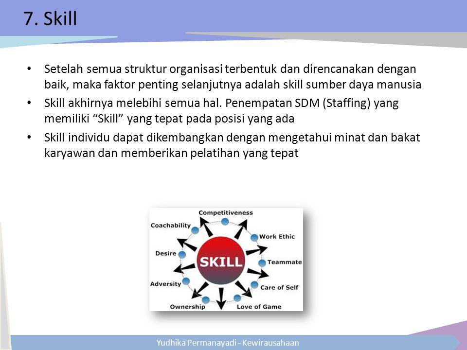 7. Skill Setelah semua struktur organisasi terbentuk dan direncanakan dengan baik, maka faktor penting selanjutnya adalah skill sumber daya manusia.