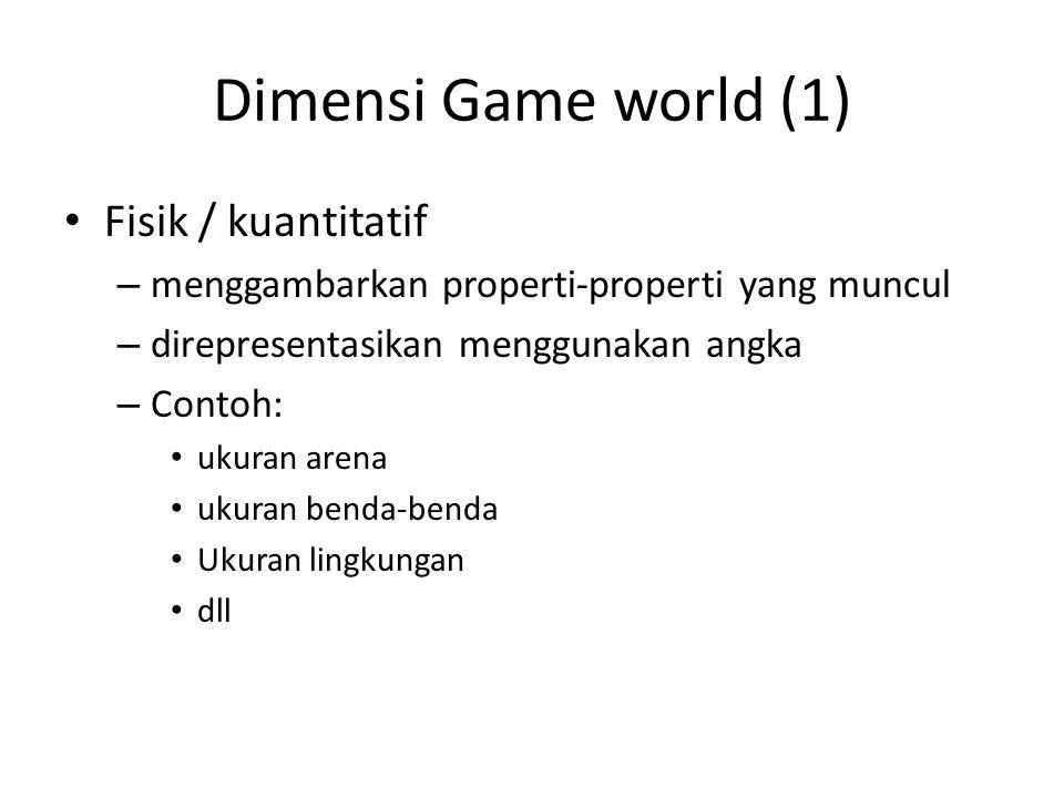 Dimensi Game world (1) Fisik / kuantitatif