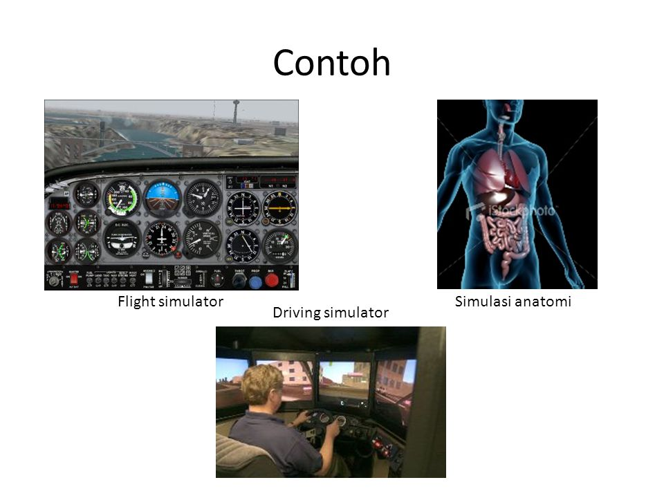 Contoh Flight simulator Simulasi anatomi Driving simulator