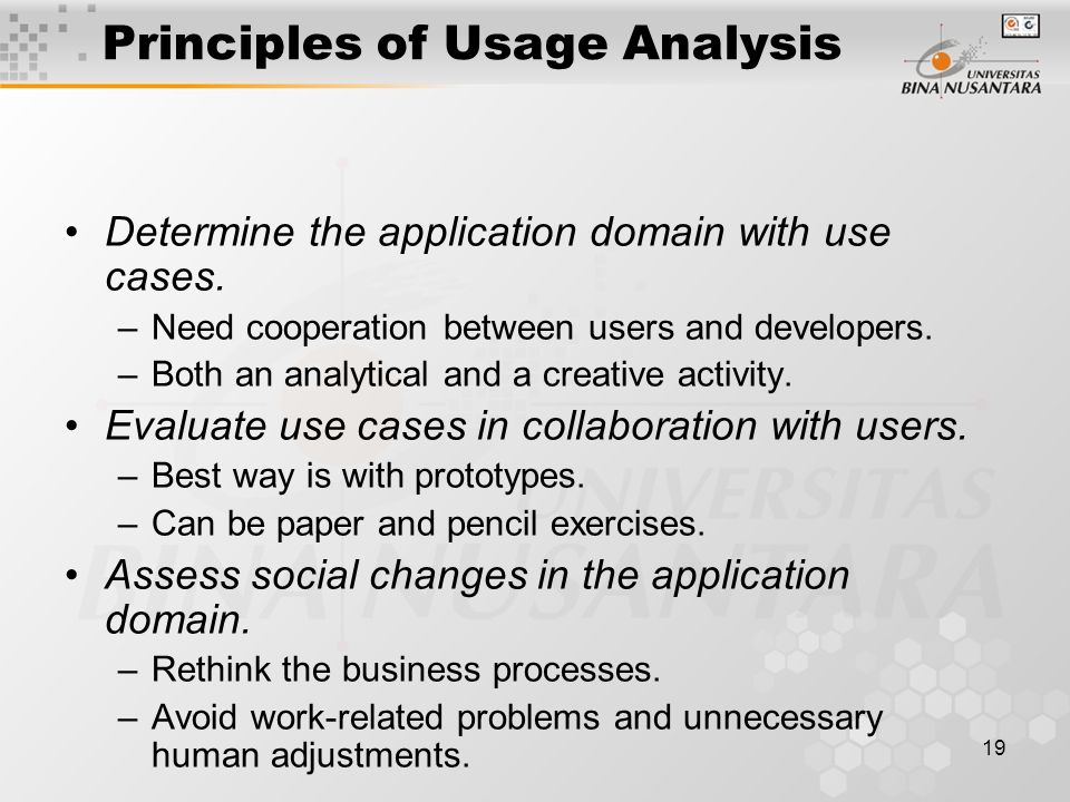 Principles of Usage Analysis