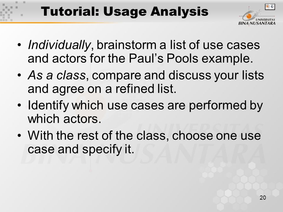 Tutorial: Usage Analysis