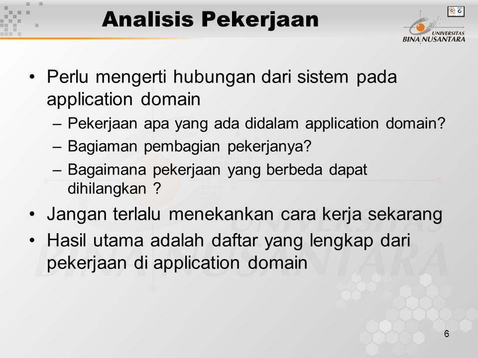 Analisis Pekerjaan Perlu mengerti hubungan dari sistem pada application domain. Pekerjaan apa yang ada didalam application domain