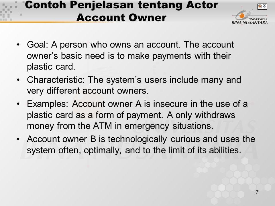 Contoh Penjelasan tentang Actor Account Owner