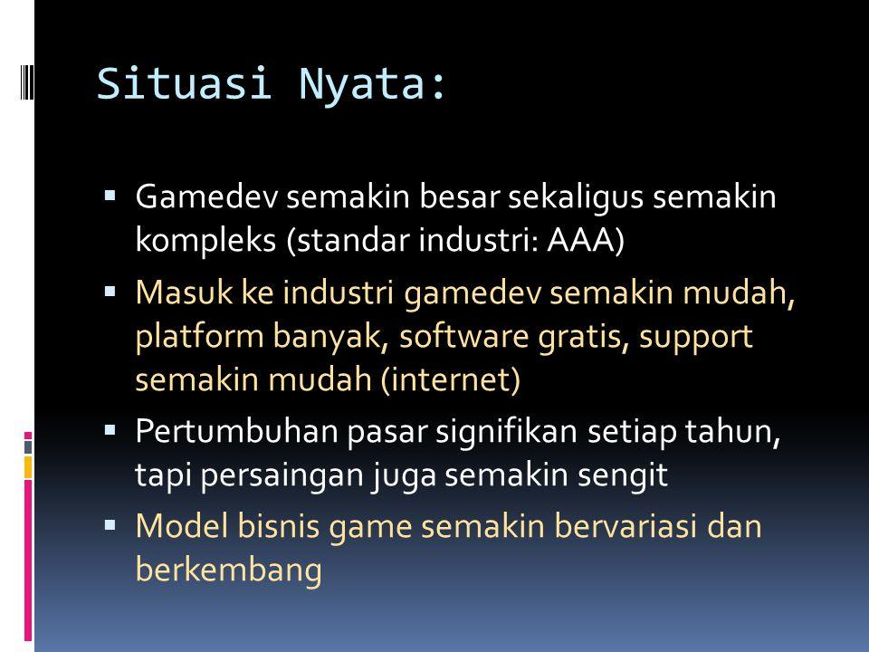 Situasi Nyata: Gamedev semakin besar sekaligus semakin kompleks (standar industri: AAA)