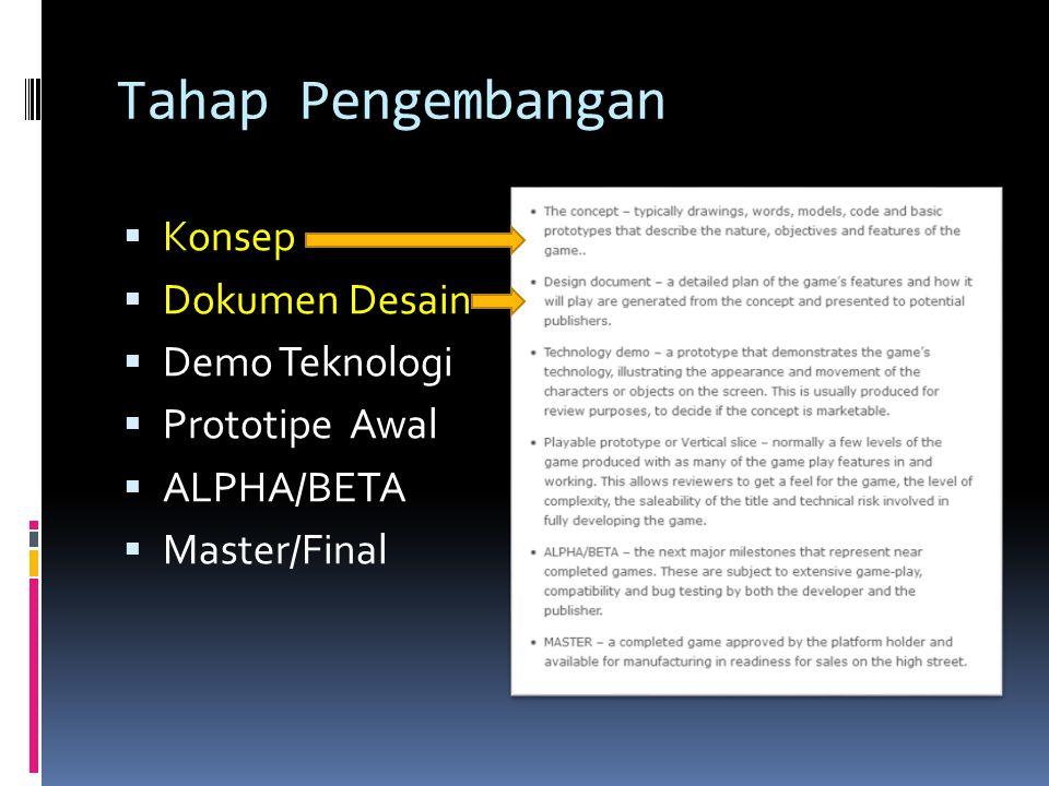 Tahap Pengembangan Konsep Dokumen Desain Demo Teknologi Prototipe Awal