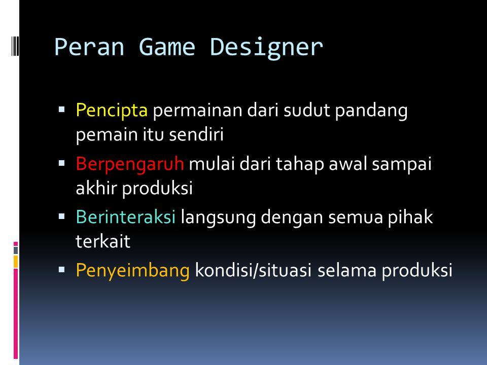 Peran Game Designer Pencipta permainan dari sudut pandang pemain itu sendiri. Berpengaruh mulai dari tahap awal sampai akhir produksi.
