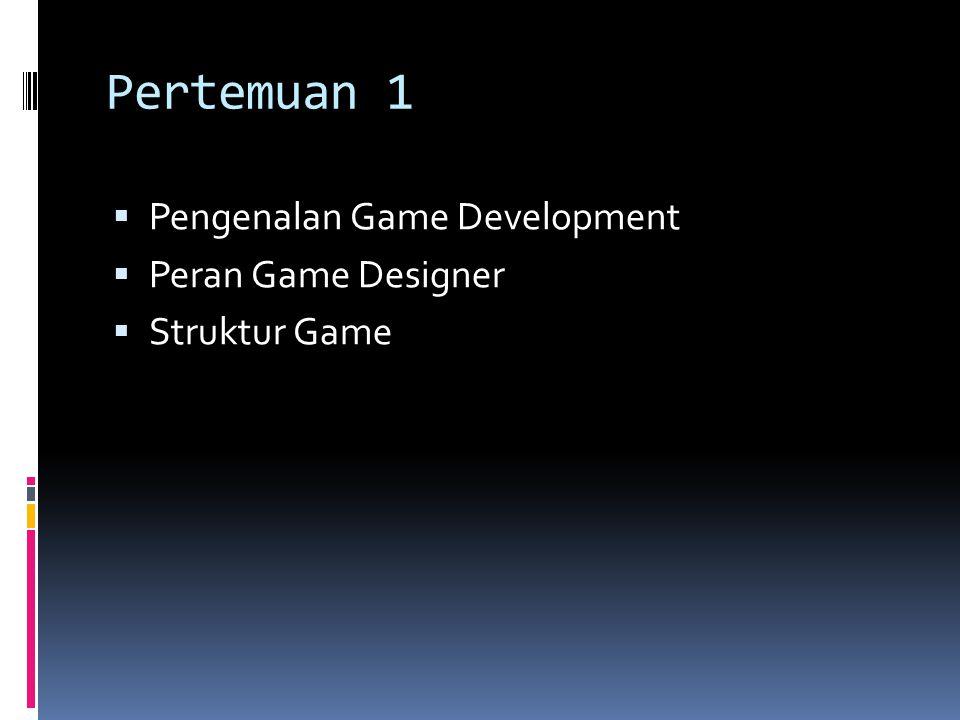 Pertemuan 1 Pengenalan Game Development Peran Game Designer