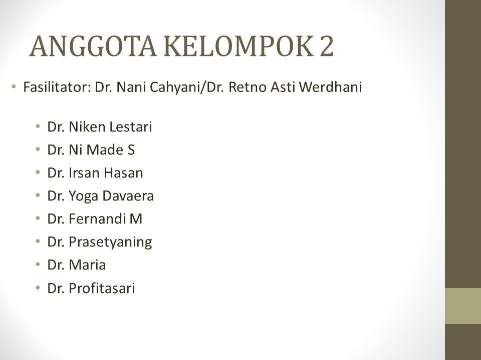 ANGGOTA KELOMPOK 2 Fasilitator: Dr. Nani Cahyani/Dr. Retno Asti Werdhani. Dr. Niken Lestari. Dr. Ni Made S.