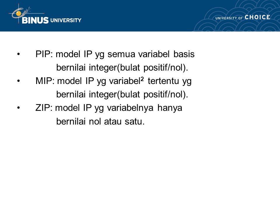 PIP: model IP yg semua variabel basis
