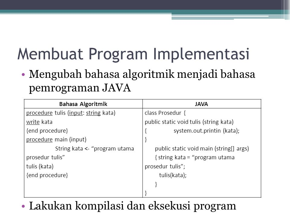 Membuat Program Implementasi