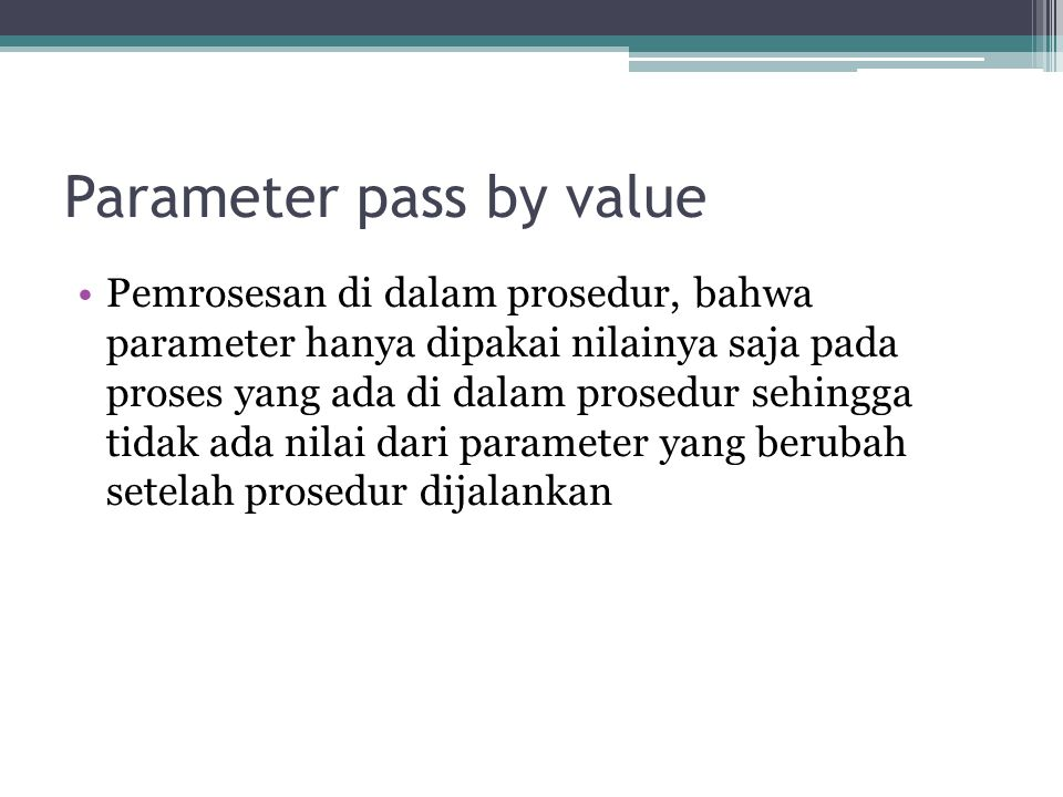 Parameter pass by value