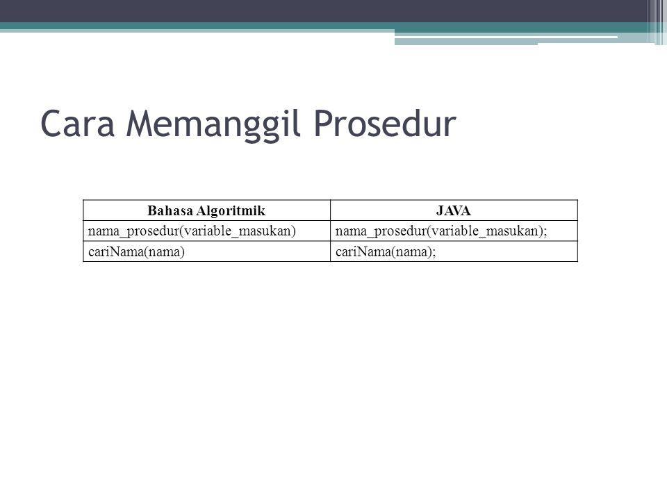 Cara Memanggil Prosedur