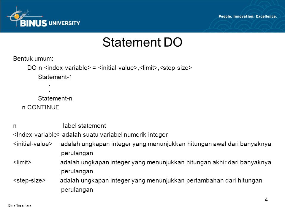 Statement DO Bentuk umum: