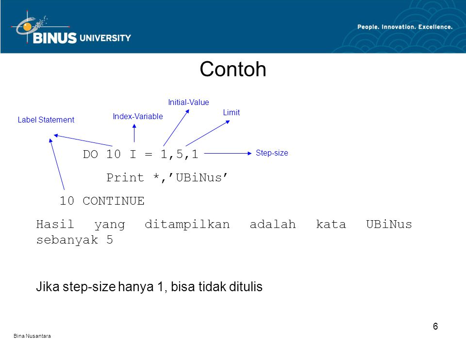 Contoh DO 10 I = 1,5,1 Print *,'UBiNus' 10 CONTINUE