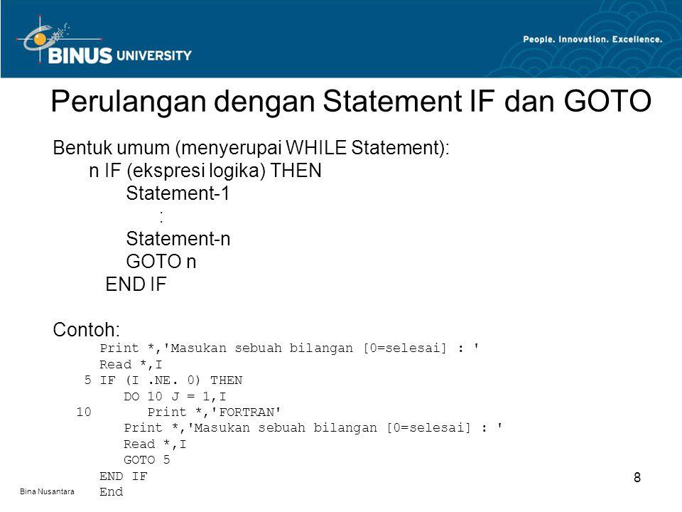 Perulangan dengan Statement IF dan GOTO