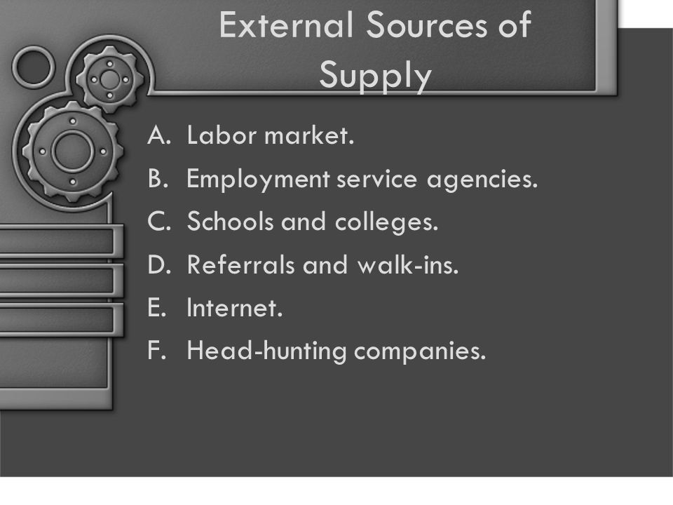 External Sources of Supply