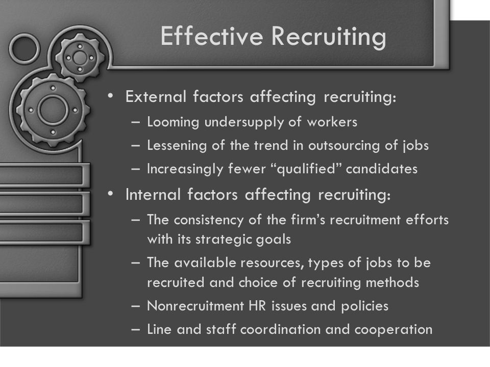 Effective Recruiting External factors affecting recruiting: