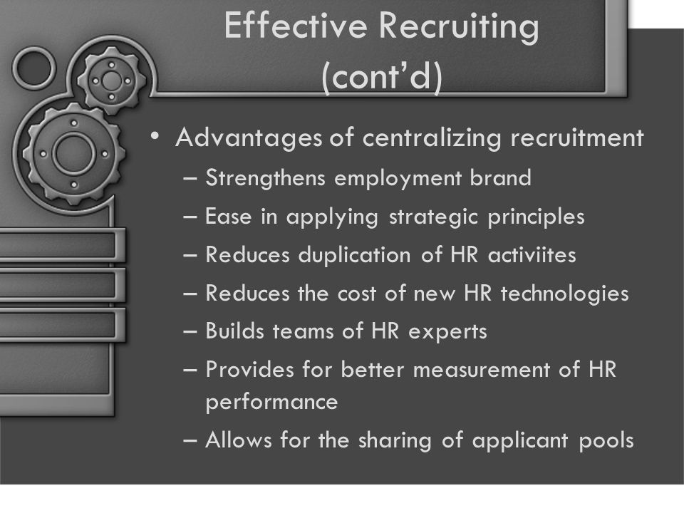 Effective Recruiting (cont'd)