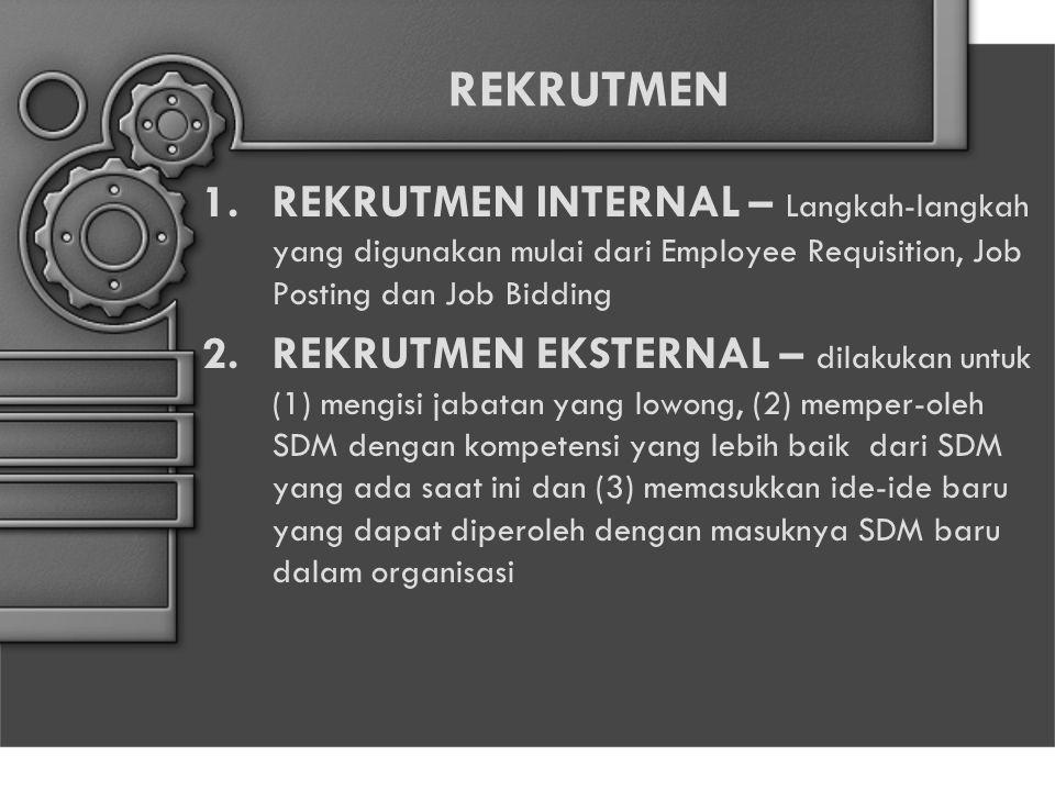 REKRUTMEN REKRUTMEN INTERNAL – Langkah-langkah yang digunakan mulai dari Employee Requisition, Job Posting dan Job Bidding.