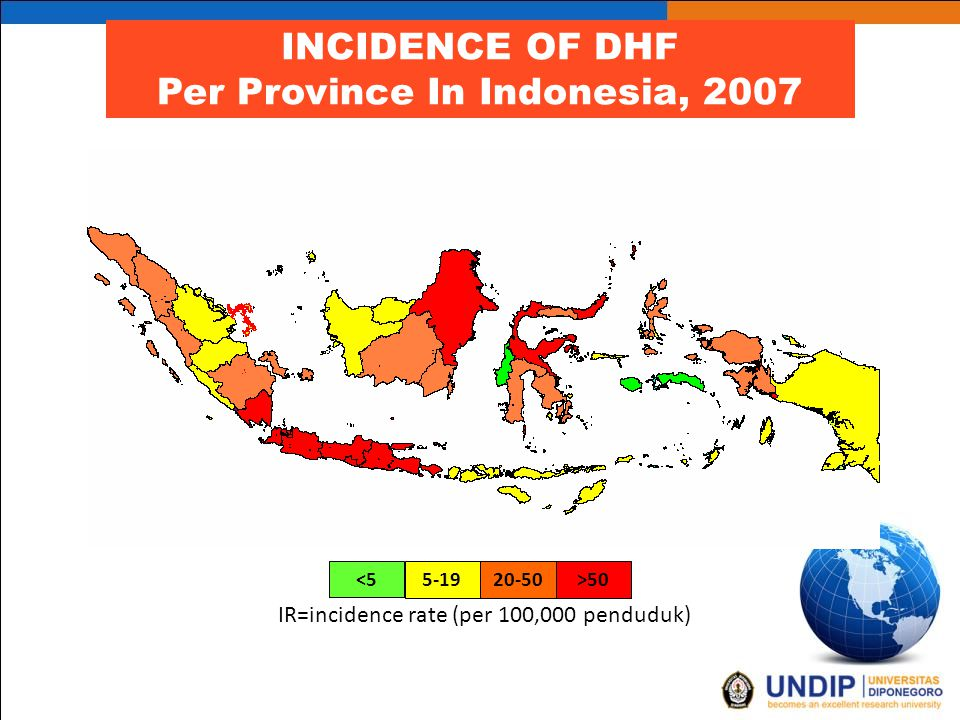 INCIDENCE OF DHF Per Province In Indonesia, 2007