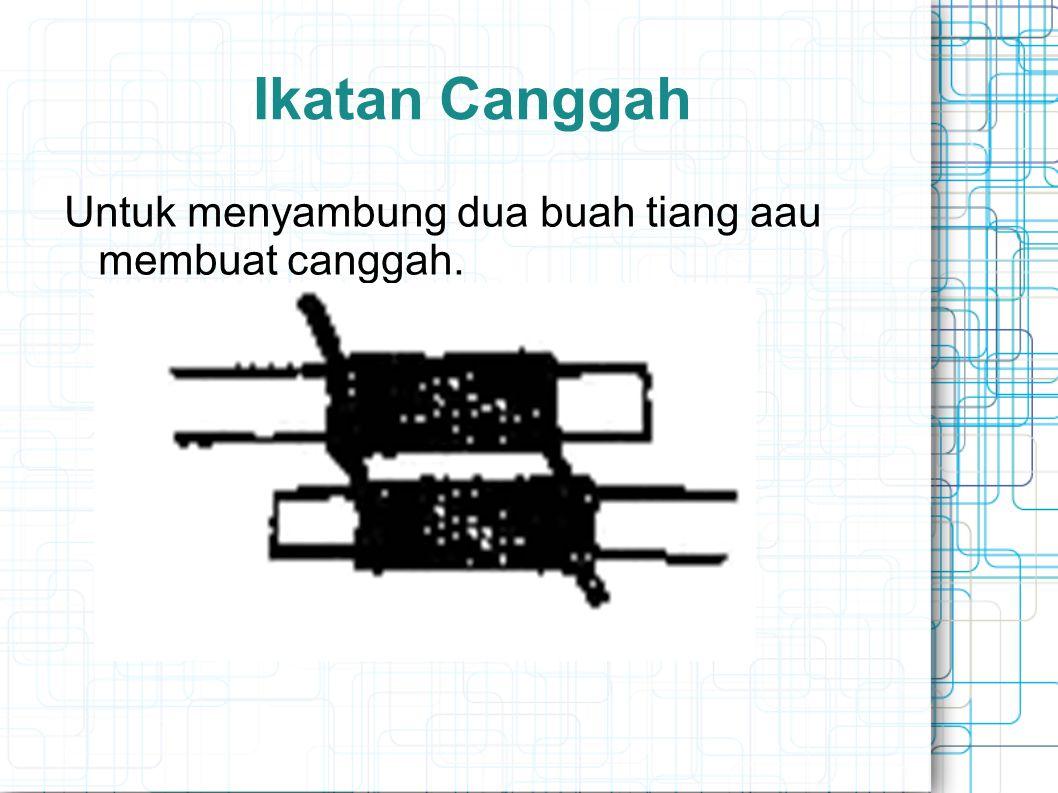 Ikatan Canggah Untuk menyambung dua buah tiang aau membuat canggah.