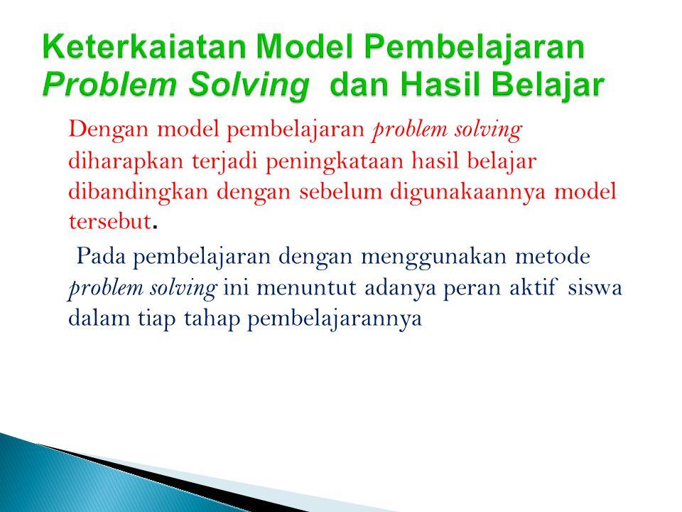 Keterkaiatan Model Pembelajaran Problem Solving dan Hasil Belajar