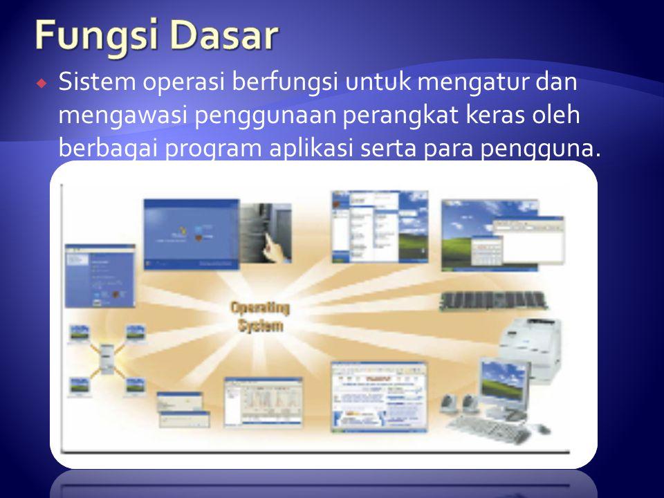 Fungsi Dasar Sistem operasi berfungsi untuk mengatur dan mengawasi penggunaan perangkat keras oleh berbagai program aplikasi serta para pengguna.
