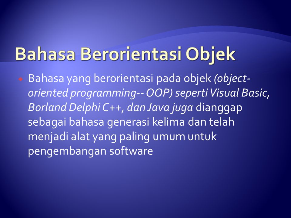 Bahasa Berorientasi Objek