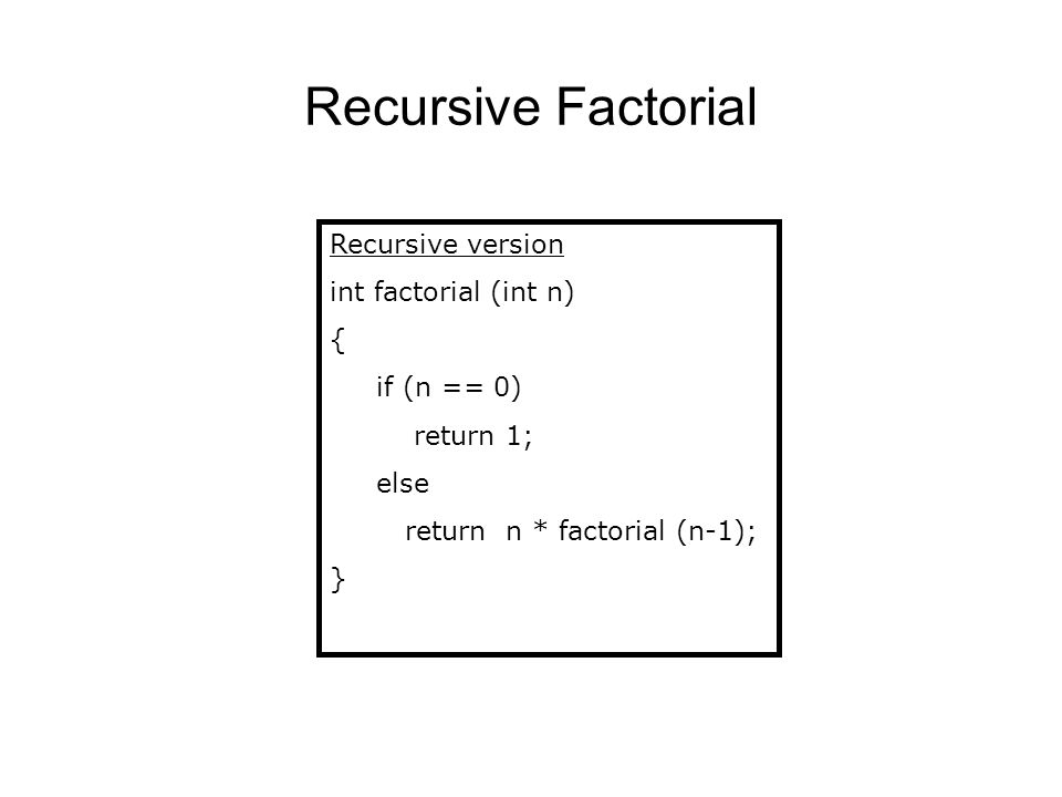 Recursive Factorial Recursive version int factorial (int n) {