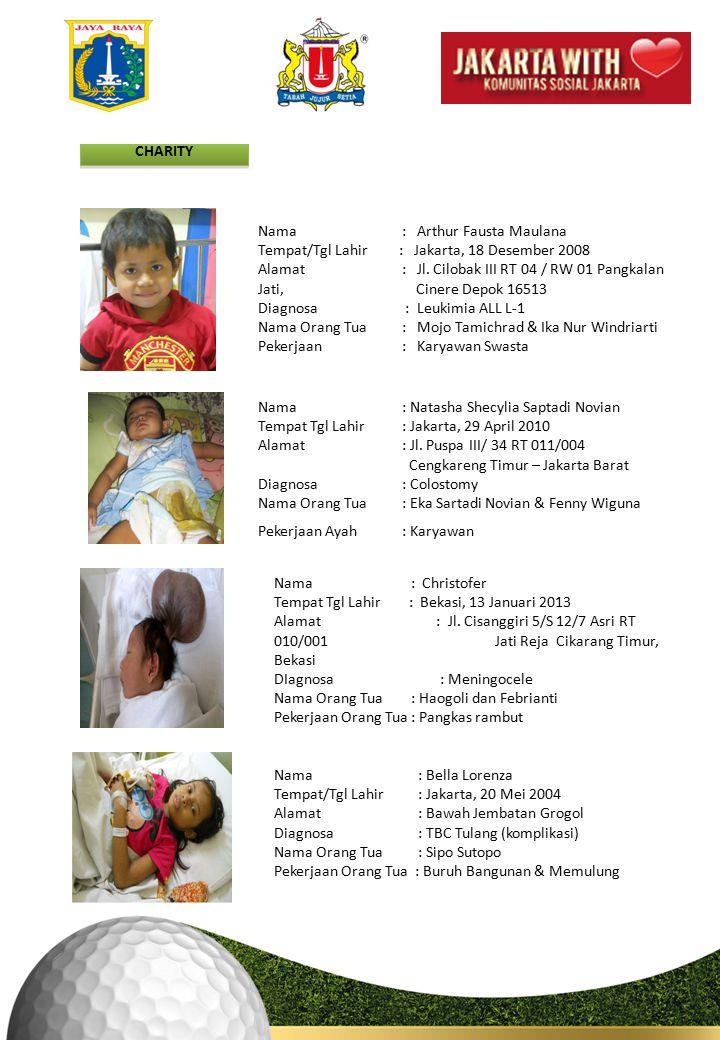 CHARITY Nama : Arthur Fausta Maulana. Tempat/Tgl Lahir : Jakarta, 18 Desember 2008.