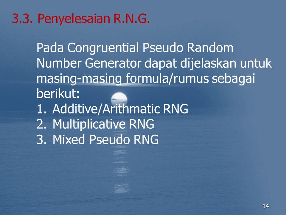 3.3. Penyelesaian R.N.G. Pada Congruential Pseudo Random Number Generator dapat dijelaskan untuk masing-masing formula/rumus sebagai berikut:
