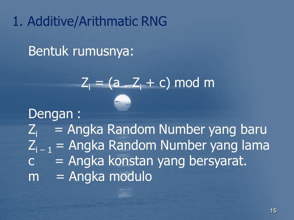 1. Additive/Arithmatic RNG