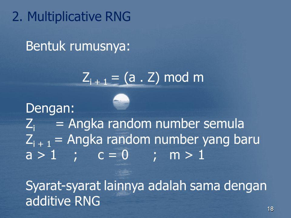 2. Multiplicative RNG Bentuk rumusnya: Zi + 1 = (a . Z) mod m. Dengan: Zi = Angka random number semula.