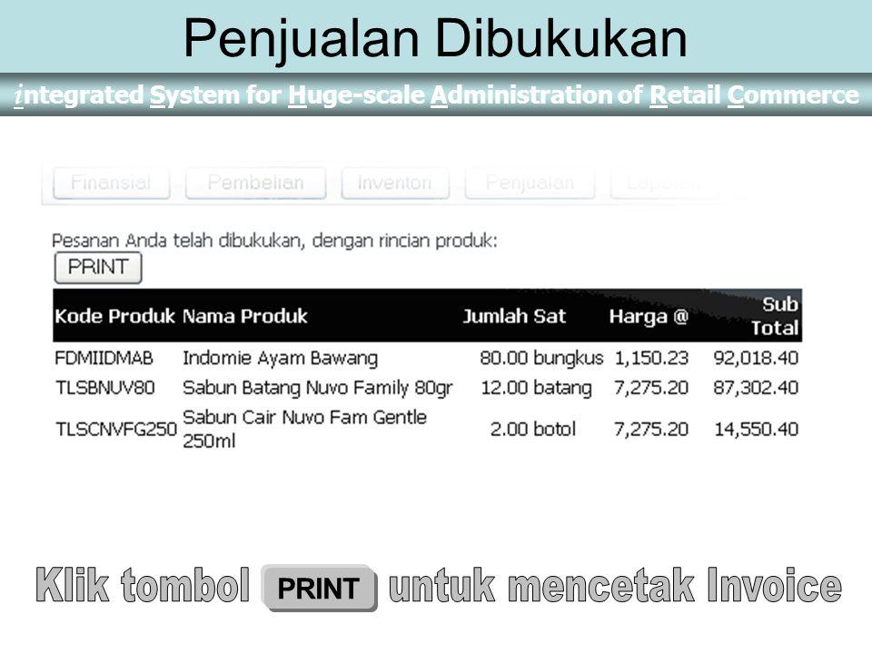 Klik tombol untuk mencetak Invoice