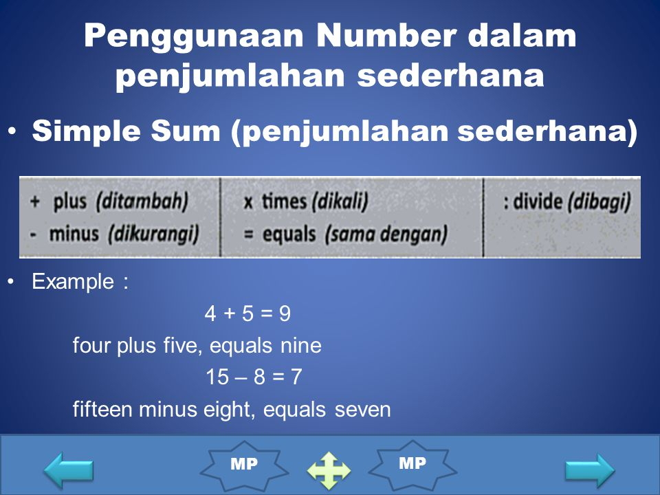 Penggunaan Number dalam penjumlahan sederhana