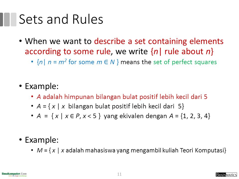 Sets and Rules When we want to describe a set containing elements according to some rule, we write {n| rule about n}