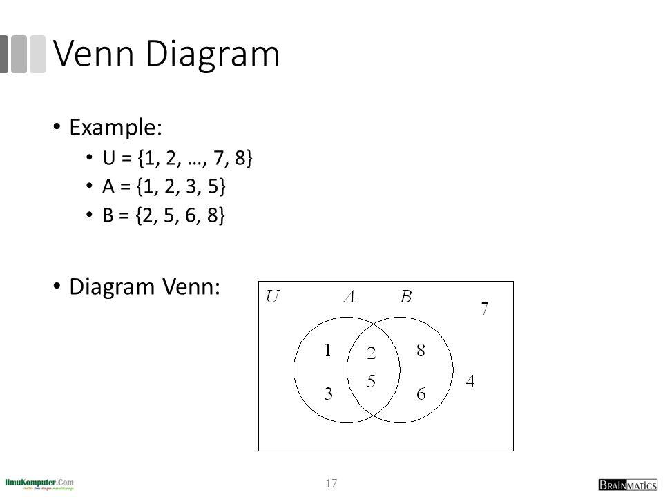 Venn Diagram Example: Diagram Venn: U = {1, 2, …, 7, 8}