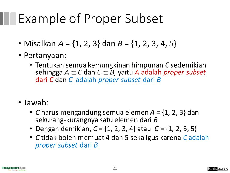 Example of Proper Subset